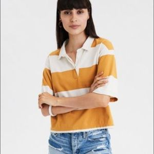 American Eagle rust colored/white collar crop top